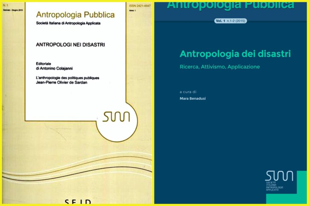 La prima e la seconda versione della copertina di Antropologia Pubblica